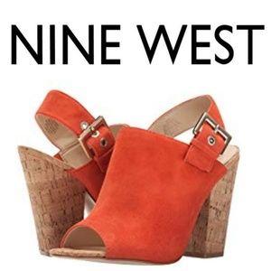Pre-fall Nine West Orlando Red-Orange Suede Mules